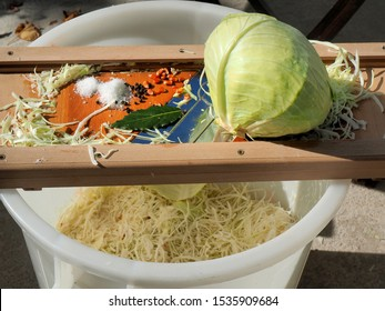 old traditional way of producing sauerkraut at home
