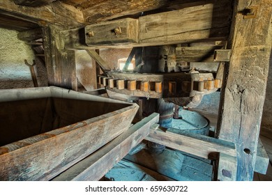 Old traditional windmill interior