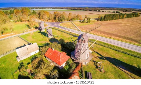 The old traditional windmills in Angla. Windmills that are so old yet being preserved for nature in the small town of Angla in Saaremaa Estonia