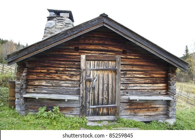 Old and traditional wooden cabin in Sweden