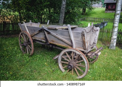 Old traditional wooden horse drawn carriage in Masuria region of Poland