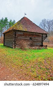 Old traditional wooden house at Ethnographic open air village in Riga, Latvia