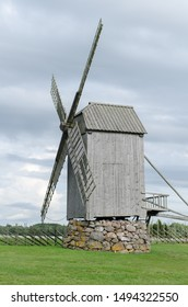 The old traditional wooden windmill in Angla, Saaremaa island, Estonia