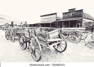 Old Trail Town, Cody, Wyoming, black and white