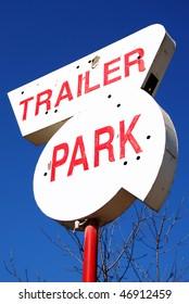 Old trailer park sign on NE Stephens Street in Roseburg OR