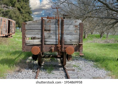 old train, in an abandoned station , parts from old wagon, old buffer in railway carriage, hook wagon