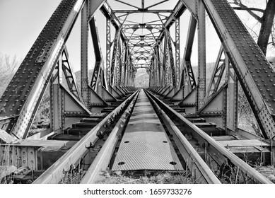 Old train bridge - black and white