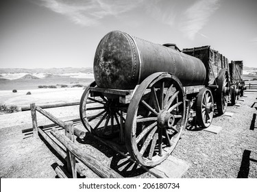 Old train from the gold rush times in death valley