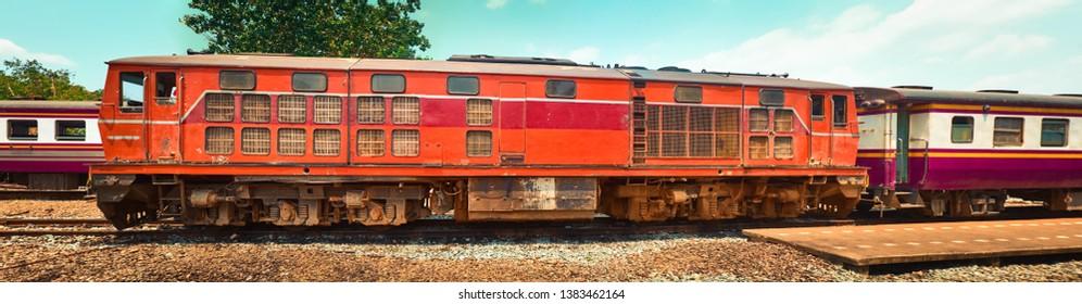 Old train locomotive at Thonburi station, Thailand railway, Bangkok