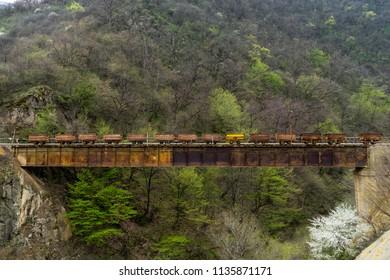 Old train of the mines of Akhtala, Armenia