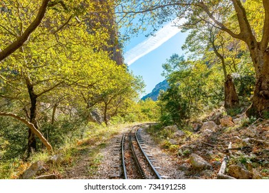 The old train rail in Vouraikos Canyon Between Kalavrita and Diakofto in Greece