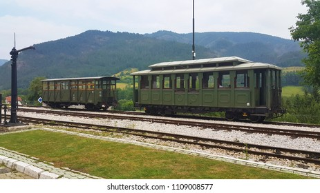 old train retro style  with mountains behind, Sargan, Serbia, Europe