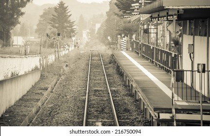 Old train station vintage in small town of Japan retro black and white tone