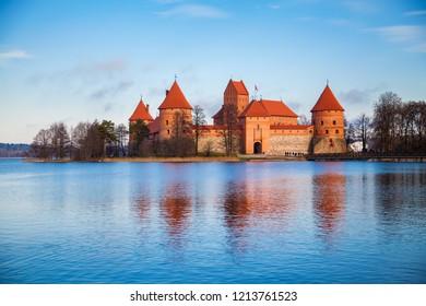 old Trakai castle in the deep autumn, Vilnius, Lithuania