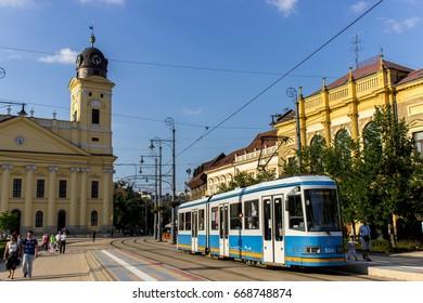 Old tram in Kossuth square, Debrecen, Hungary