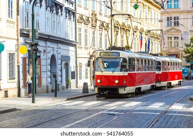 Old tram in Prague in a beautiful summer day, Czech Republic