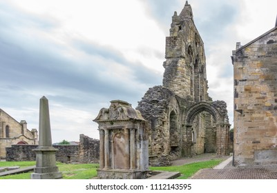 The Old Transept Ancient Ruins Kilwinning Abbey Scotland from the side of the old clock tower