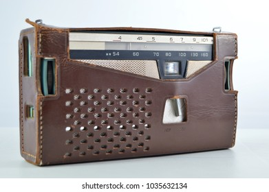 Old transistor radio in leather case