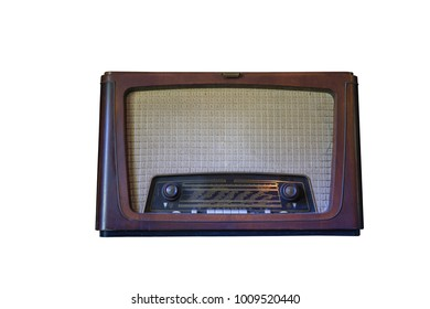 Old transistor Radio is made of wood isolate on white background