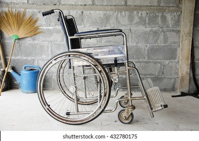 Old Transport Wheelchair in house at countryside of Thailand