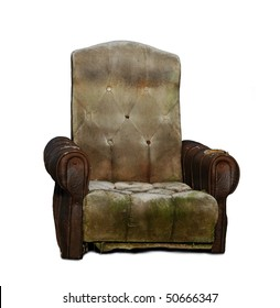 Old trash armchair, isolated on white background