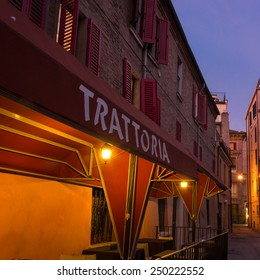 Old trattoria in the downtown of Ferrara city