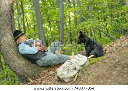Image of: Three Old An Old Travelers Man Relaxes In The Woods Leaning Close To The Tree Senior Shutterstock Old Travelers Man Relaxes Woods Leaning Stock Photo edit Now