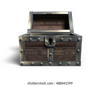 Old treasure chest open, front view, isolated on white background, 3D rendering.