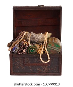 Old treasure chest with vintage gems and jewellery