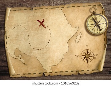 Old treasure pirates' map with compass on wood table. 3d illustration.
