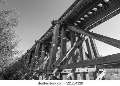 An old trestle railroad bridge in central Texas.
