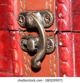 Old trinket box lock. Old lock. Trinket. Focus on old lock.