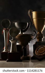 old trophy on the dark background
