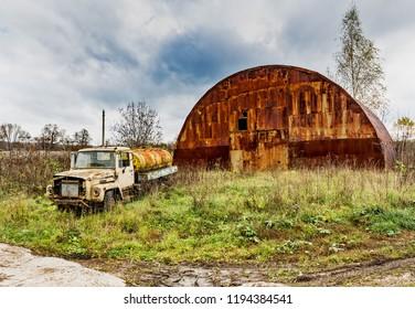 Old truck.. .Abandoned collective farm. Russia, Tula region.