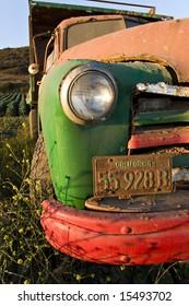 Old truck in an artichoke field near Santa Cruz, California.