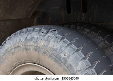 old truck tyres. concept : time to change your tyre. torn and damage car rubber wheels.