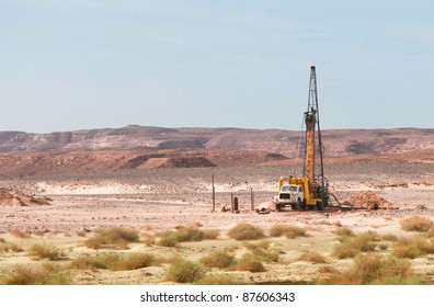 Old truck used for drilling in Sinai desert in Egypt