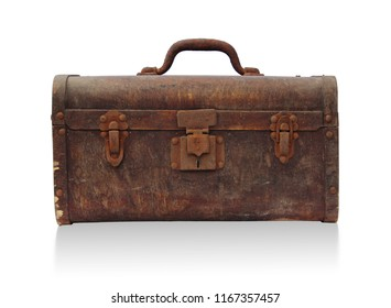Old trunk box front view isolated on white background