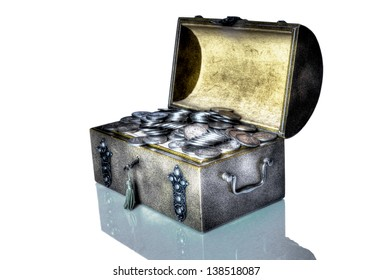 An old trunk with a small treasure trove of old silver coins in a fantasy atmosphere.