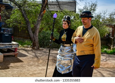 Old Tucson, Arizona - 9 March 2019: Characters at the Steampunk Convention dressed in Star Trek costumes.