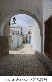 old tunisian city paved street