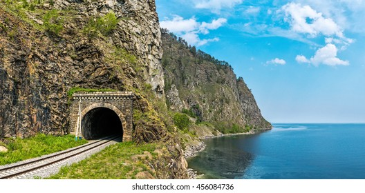 Old tunnel on Circum-Baikal Railway, lake Baikal