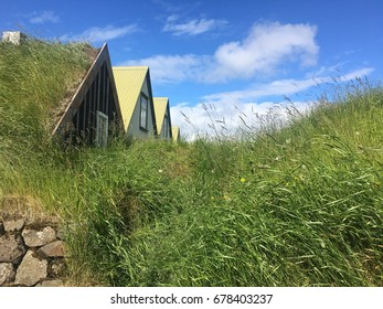 Old turf house in museum in Reykjavik city in Iceland