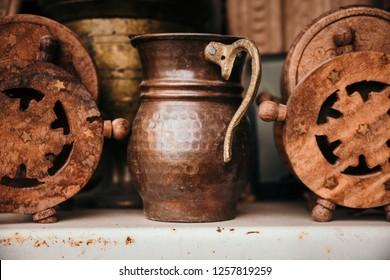 Old Turkey traditional copper pots in Goreme, Cappadocia