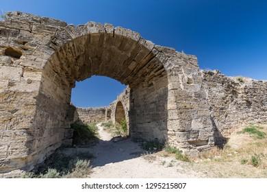 Old turkish fortress Yeni-Kale on the Black sea coast. Kerch, Crimea