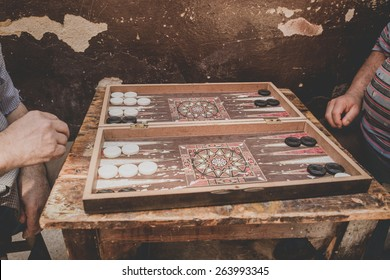Old turkish men playing backgammon, Istanbul