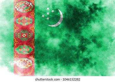 Old Turkmenistan grunge background flag