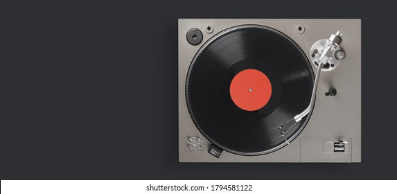 old turntable player with lp vinyl record top view. Clipping path.