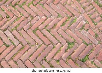 Old Tuscany paving made of red bricks