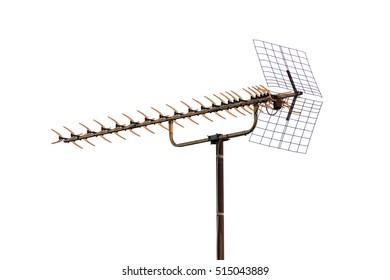 old TV antenna isolated on white background